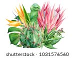 bouquet of tropical plants and... | Shutterstock . vector #1031576560