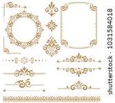 vintage set. floral elements... | Shutterstock . vector #1031584018