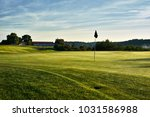 sunset and golf course with... | Shutterstock . vector #1031586988