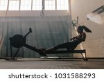 woman doing cardio workout on...   Shutterstock . vector #1031588293