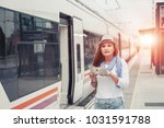 traveler girl with map  hat and ... | Shutterstock . vector #1031591788