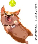 Stock vector dogs are jumping to pick up the ball 1031592496