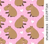seamless pattern with cute... | Shutterstock . vector #1031597164