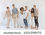 group of young multi ethnic... | Shutterstock . vector #1031598970