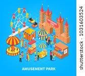 amusement park cartoon... | Shutterstock .eps vector #1031603524