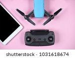 modern drone with transmitter... | Shutterstock . vector #1031618674