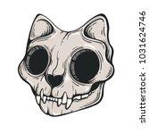 cat skull illustration. scary... | Shutterstock .eps vector #1031624746
