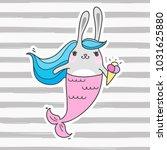 cute cartoon rabbit mermaid.... | Shutterstock .eps vector #1031625880