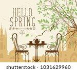 vector landscape in retro style ... | Shutterstock .eps vector #1031629960