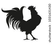 black silhouette of a rooster.... | Shutterstock .eps vector #1031631430