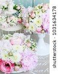floral arrangement with pink...   Shutterstock . vector #1031634178