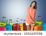 woman traveler with suitcase | Shutterstock . vector #1031635558
