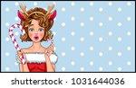 girl in the style of pop art.... | Shutterstock .eps vector #1031644036