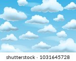 clear blue sky with clouds.... | Shutterstock .eps vector #1031645728
