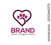 Stock vector dog paws with heart icon logo vector 1031646370