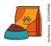 mascot food bag with dish | Shutterstock .eps vector #1031649868