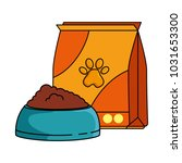 mascot food bag with dish | Shutterstock .eps vector #1031653300