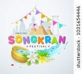 songkran festival water splash...   Shutterstock .eps vector #1031654446