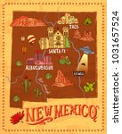 illustrated tourist map of new... | Shutterstock .eps vector #1031657524