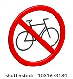no bikes 3d sign in vector... | Shutterstock .eps vector #1031673184