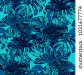 tropical leaves. seamless...   Shutterstock .eps vector #1031677774