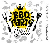 bbq party food poster. barbecue ... | Shutterstock .eps vector #1031680723