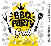 bbq party food poster. barbecue ... | Shutterstock .eps vector #1031680726