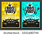 bbq party food poster. barbecue ... | Shutterstock .eps vector #1031680744