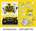 bbq party food poster. barbecue ... | Shutterstock .eps vector #1031680750