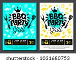 bbq party food poster. barbecue ... | Shutterstock .eps vector #1031680753