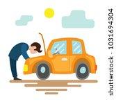 breakdown of the car. the man... | Shutterstock .eps vector #1031694304