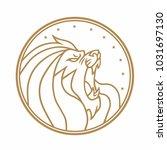 lion roaring circle gold logo...   Shutterstock .eps vector #1031697130