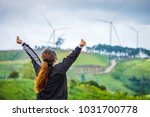 woman feels free and powerful... | Shutterstock . vector #1031700778