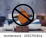 stop bug sign and clean bed in... | Shutterstock . vector #1031701816