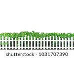 white fence decorated with... | Shutterstock . vector #1031707390