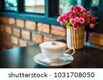 white cup of cappuccino coffee... | Shutterstock . vector #1031708050