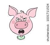 the cute pig has an anger and... | Shutterstock .eps vector #1031711524