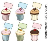 doodle cupcake set. the... | Shutterstock .eps vector #103172084