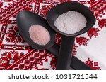 white and red salt on black...   Shutterstock . vector #1031721544