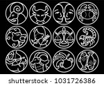 zodiac sign in line art graphic ... | Shutterstock .eps vector #1031726386