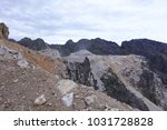 limestone mining in the morning. | Shutterstock . vector #1031728828