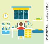 teenager room interior vector... | Shutterstock .eps vector #1031734450
