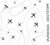 different airplanes paths... | Shutterstock .eps vector #1031737399