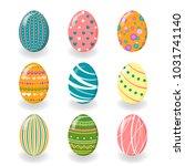 set of easter eggs. vector...   Shutterstock .eps vector #1031741140