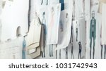 wall with pinned fashion... | Shutterstock . vector #1031742943