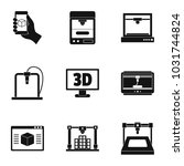 3d printer icon set. simple set ...