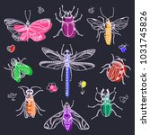 modern set of hand draw insects ... | Shutterstock .eps vector #1031745826