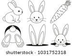 line art black and white rabbit ... | Shutterstock .eps vector #1031752318