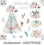 hand drawn watercolor tribal... | Shutterstock . vector #1031757610