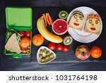 school lunch boxes with... | Shutterstock . vector #1031764198